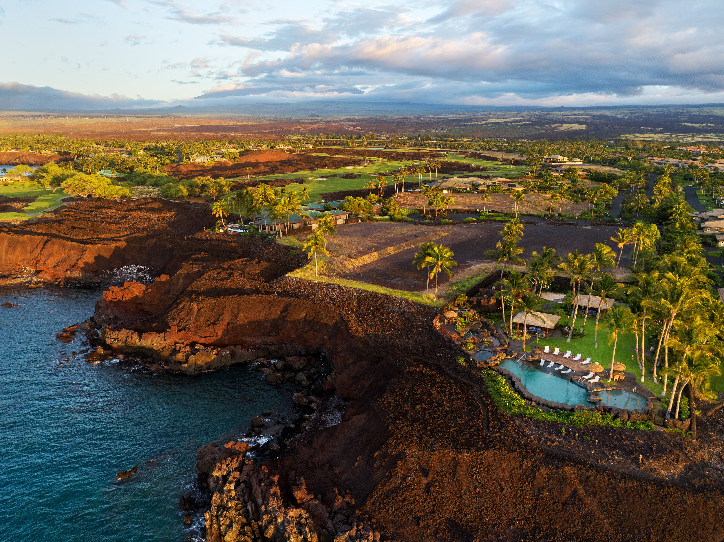 Aerial view of Ke Kailani custom home sites (left) within Mauna Lani Resort.