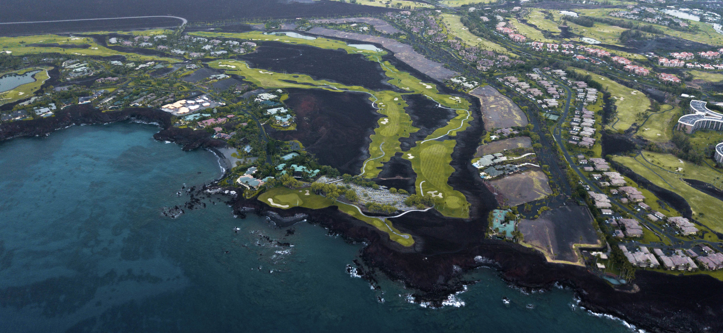 Aerial view of the luxury resort residential community of Ke Kailani at Mauna Lani Resort.