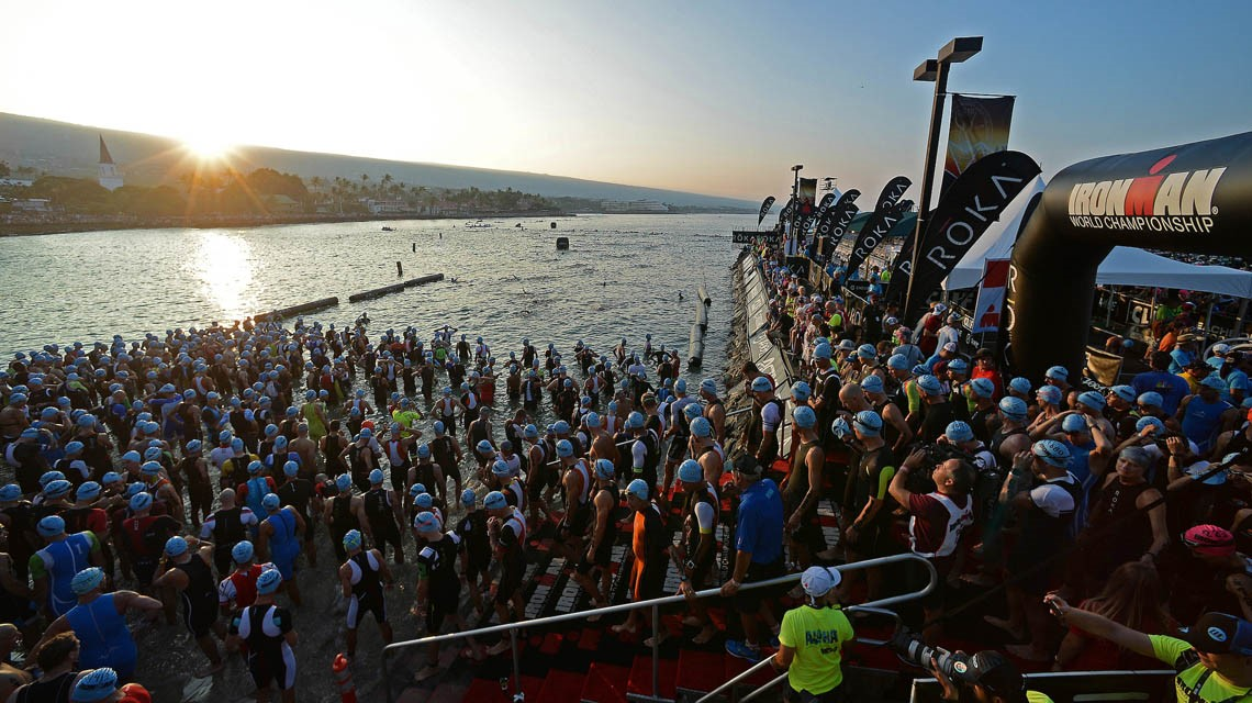 Waiting for the swim start.   Photo by Donald Miralle for IRONMAN.