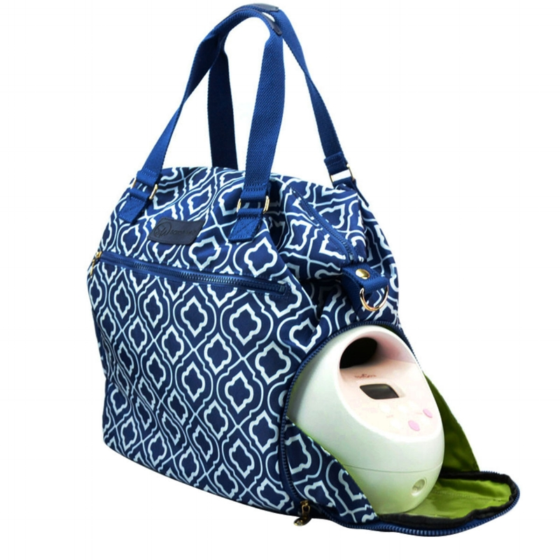 Pictured above: Lizzy (Navy) Sarah Wells Pumping Bag with Spectra Breastpump (Image courtesy of Sarah Wells)
