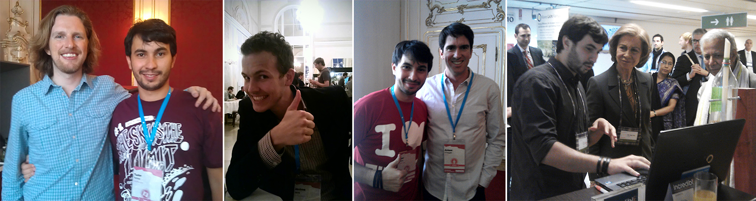From left to right:    Matt    founder of Wordpress,    Jerome     — internet storyteller,    Adam    co-founder of Siri,    Sofia     — by then still the Queen of Spain and     Muhammad     — Peace Nobel Prize 2016