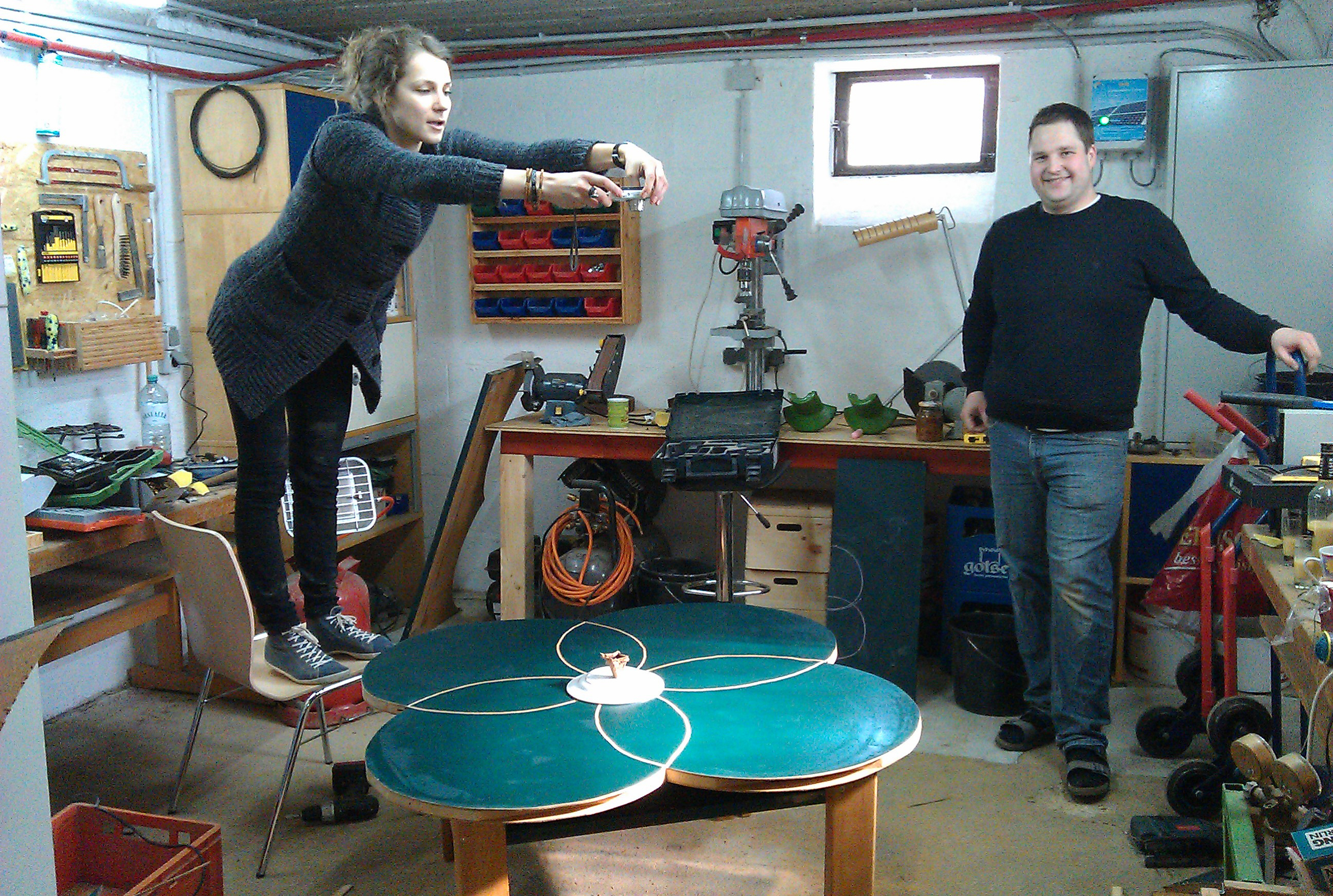 Using our own software to build a recycled office table (in the shape of Dreamups Logo).Thanks   Erhart Kurz  for offering your workshop space.