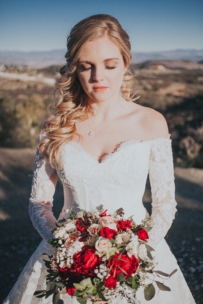 A bride with wedding makeup done in San Diego by Girl on the Go! Night Spa.