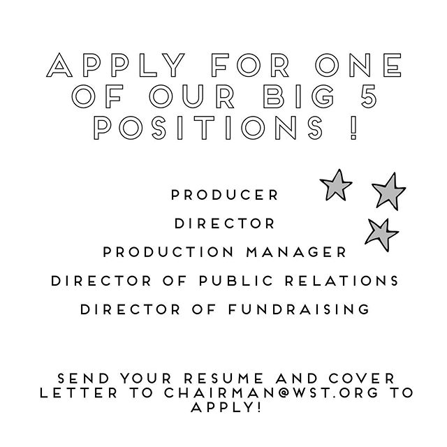 As our season is coming to a close, it's time to begin planning next summer's season! To apply for one of our big 5 positions, please send in your resume and cover letter to chairman@wst.org !