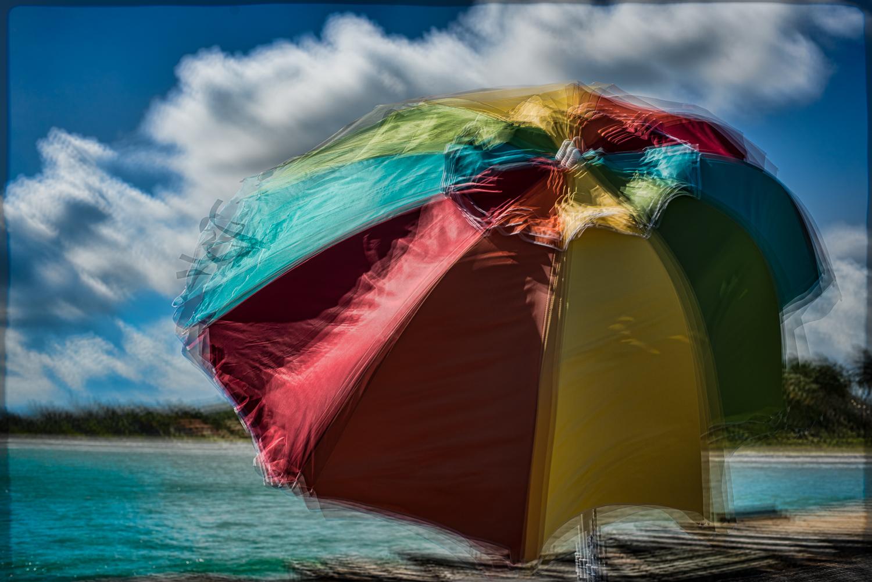 Beach umbrella on the pier