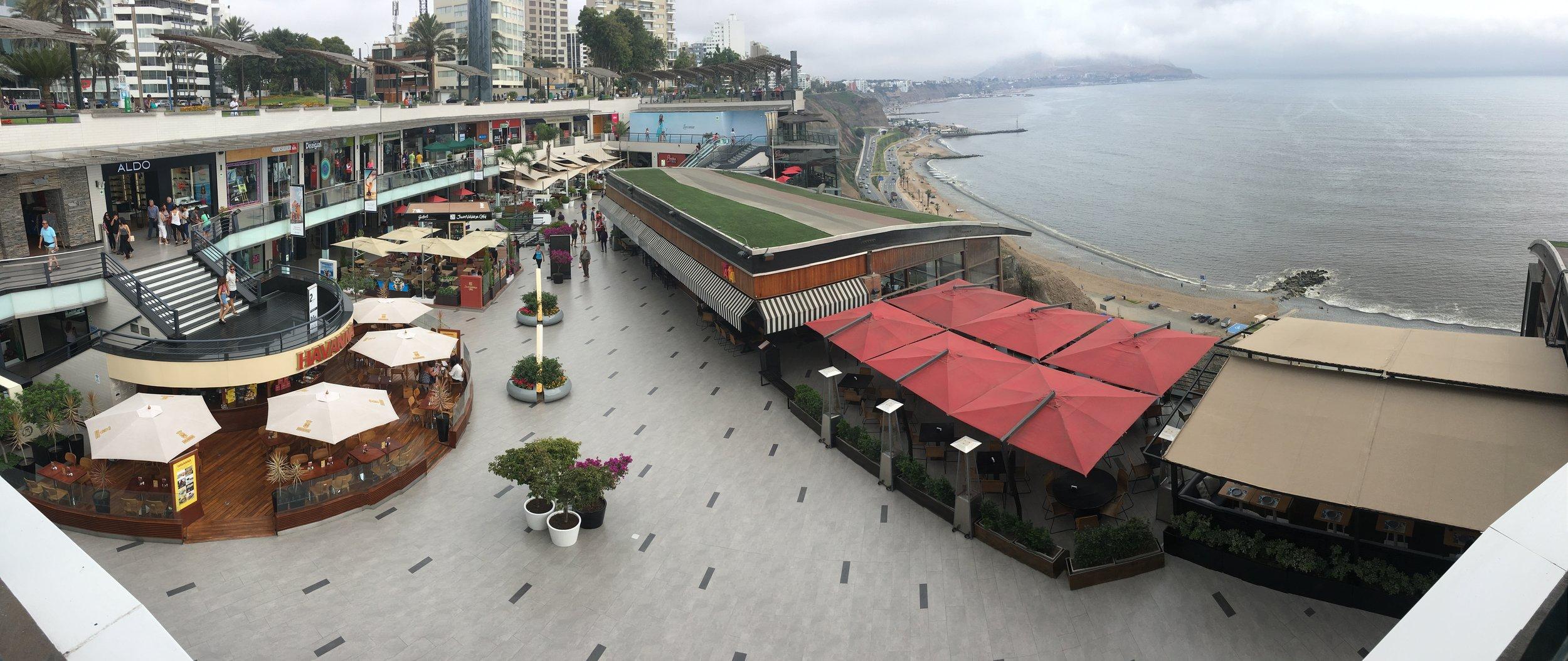 Larcomar shopping center, along the Pacific.