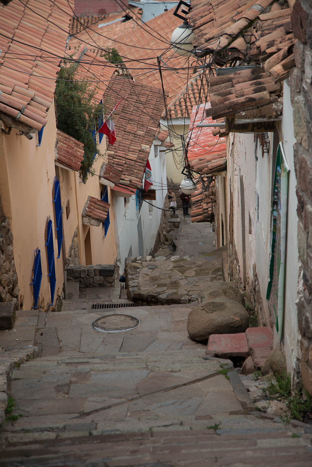 Cusco is 11,200 feet above sea level - San Blas is pretty much near the top of Cusco. Stairs - Stairs - Stairs!!!