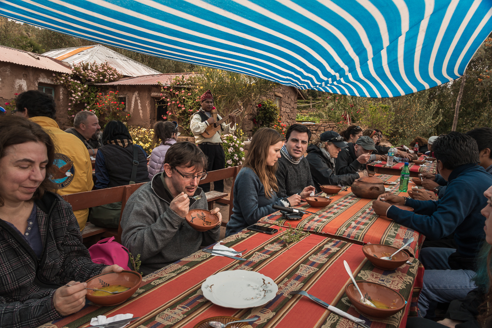 Our meal was traditional and home cooked. Easily one of the best meals we had while in Peru. Our first course was a delicious quinoa soup. On this island, everything is organic. No chemicals are brought in or used.