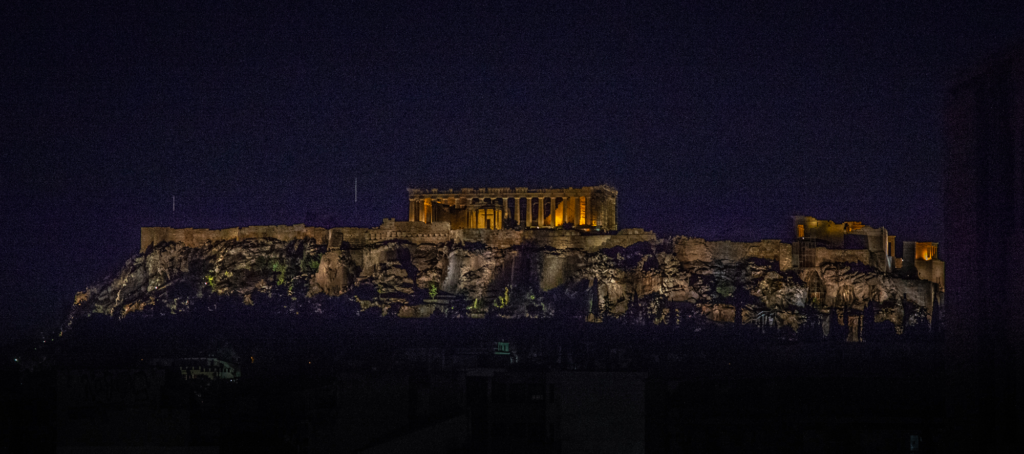 This was our view of the Acropolis from our terrace, albeit taken with my zoom lens. Nevertheless, it was an amazing sight. We just could not tire of it.