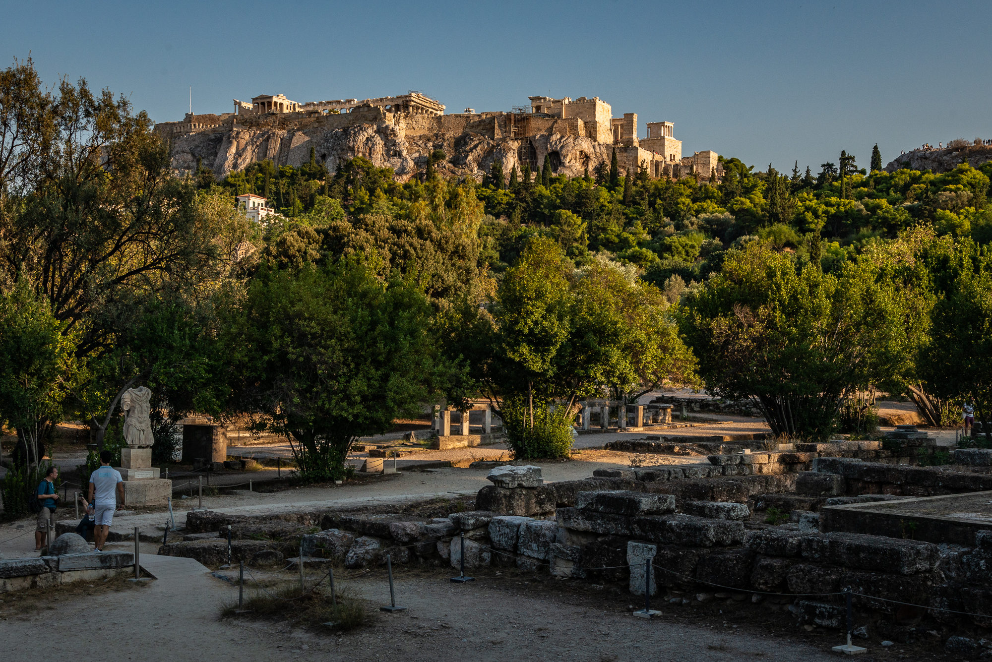A partial view of the Ancient Agora, with the Parthenon on the Acropolis in the background.