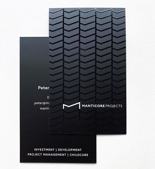 Business cards for @manticoreprojects Printed on 400gsm in uncoated stock with black on black spot UV & a matte cello finish 👌🏼 #businesscards #design #inspo #graphicdesign #graphicdesigner #blackonblack #branding #spotuv #designinspo #identity #print