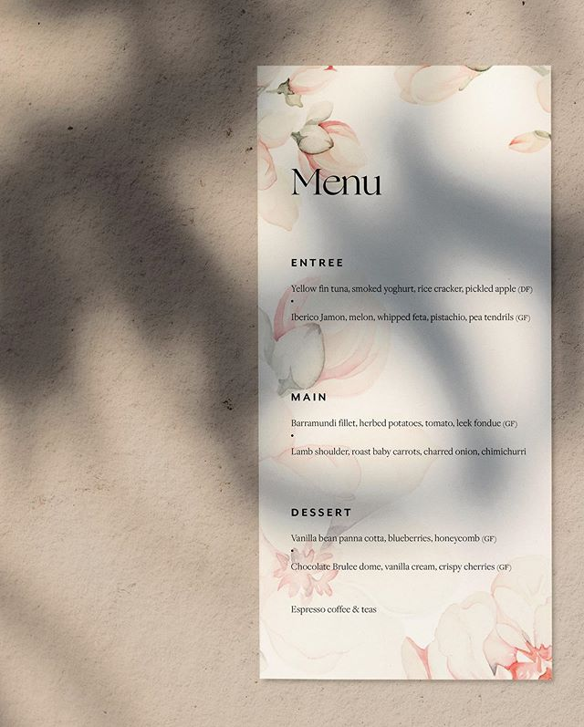 Menu design featuring watercolour florals by Isobel James for Tink & Drew's beautiful wedding day 🌸 printed on uncoated eco stock adding a subtle touch of tactile luxury.
