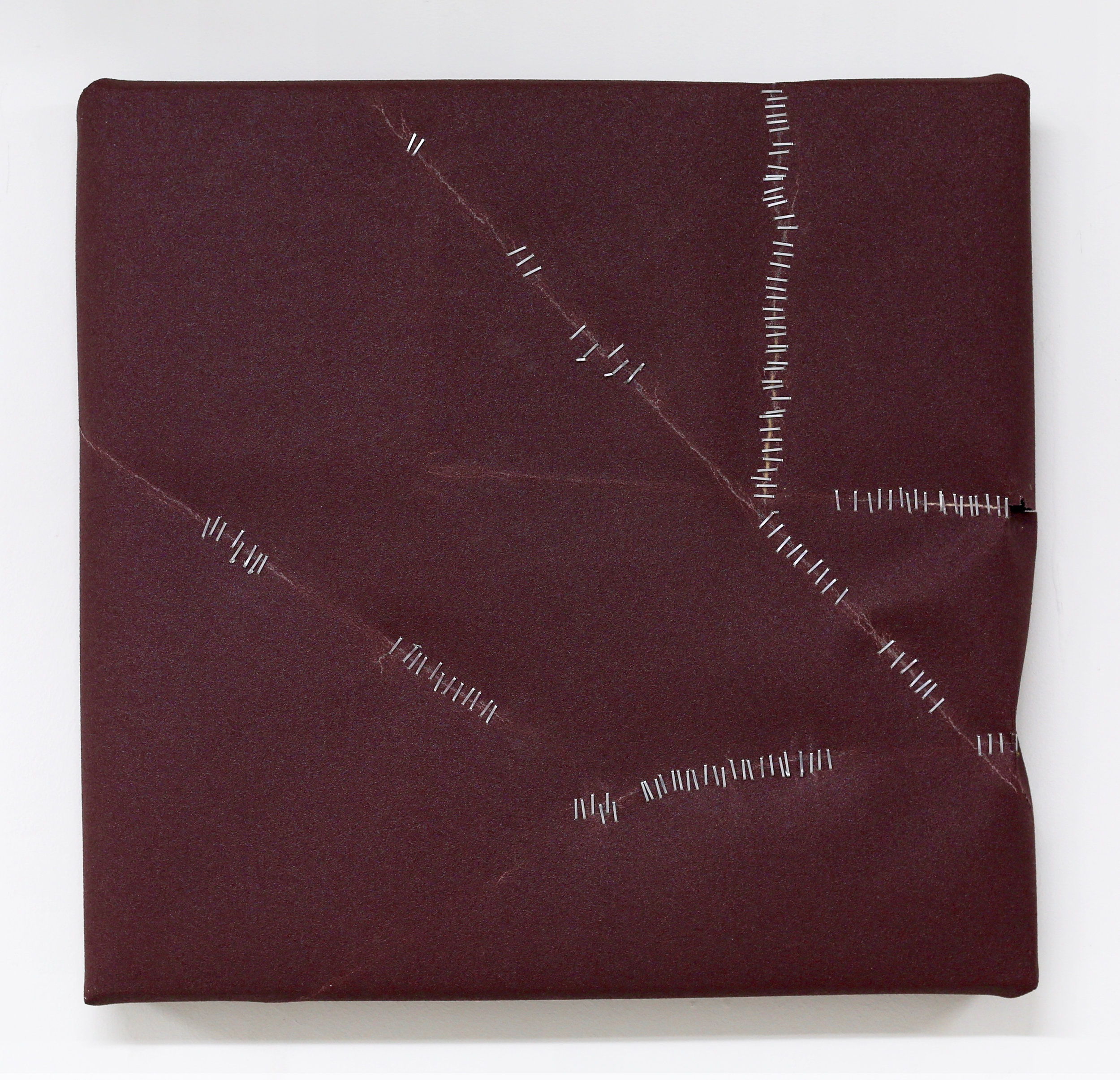 Untitled (Maroon with Staples, 120 Grit)