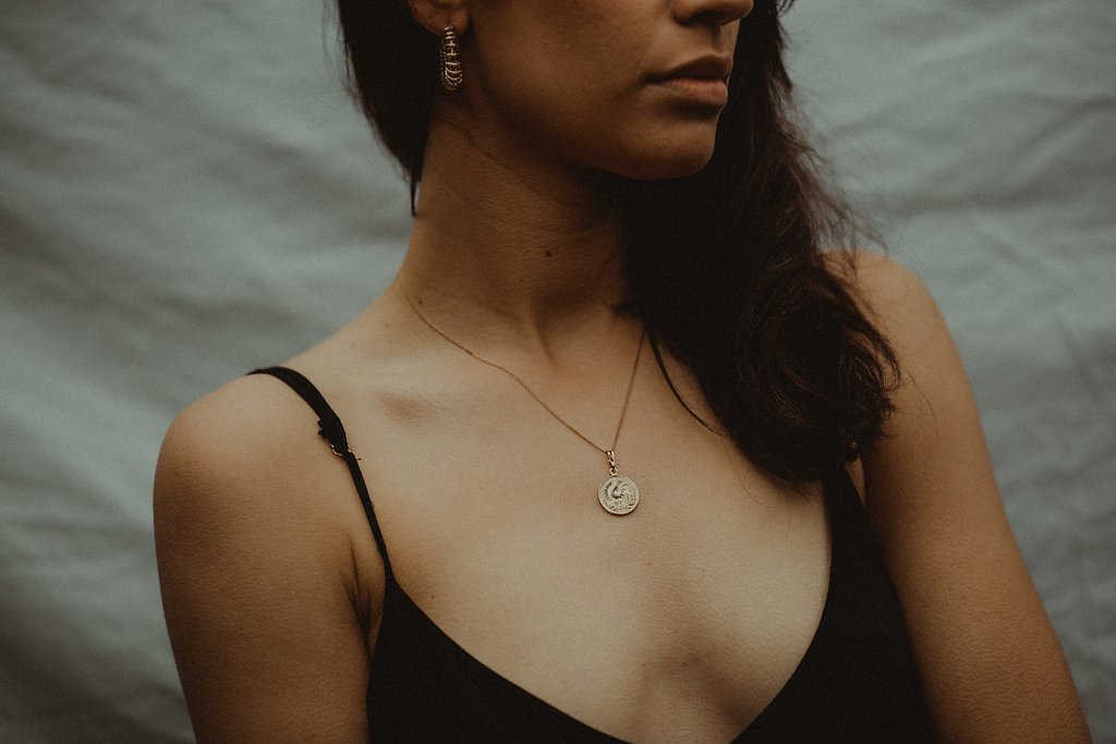 Commoners   V-Slip Dress + Reliquia   Mini Lucky Coin Pendant