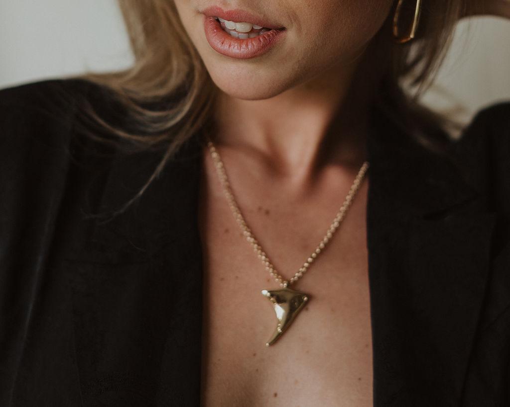 Third Form | Paisley Soft Blazer Dress Reliquia |Shark Tooth NeckLace + Bold STatement Earrings