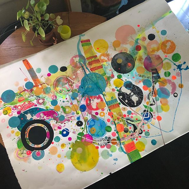 Work in progress. This is the largest watercolor I've done at 5 feet across. #abstractwatercolor #mixedmedia