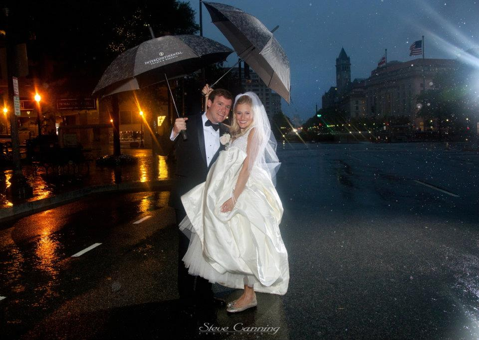 The Livingston's were married at The Willard Hotel during Hurricane Irene - which also happened to be a couple days after an earthquake hit Washington, D.C. {photo credit:  Steve Canning Photography }