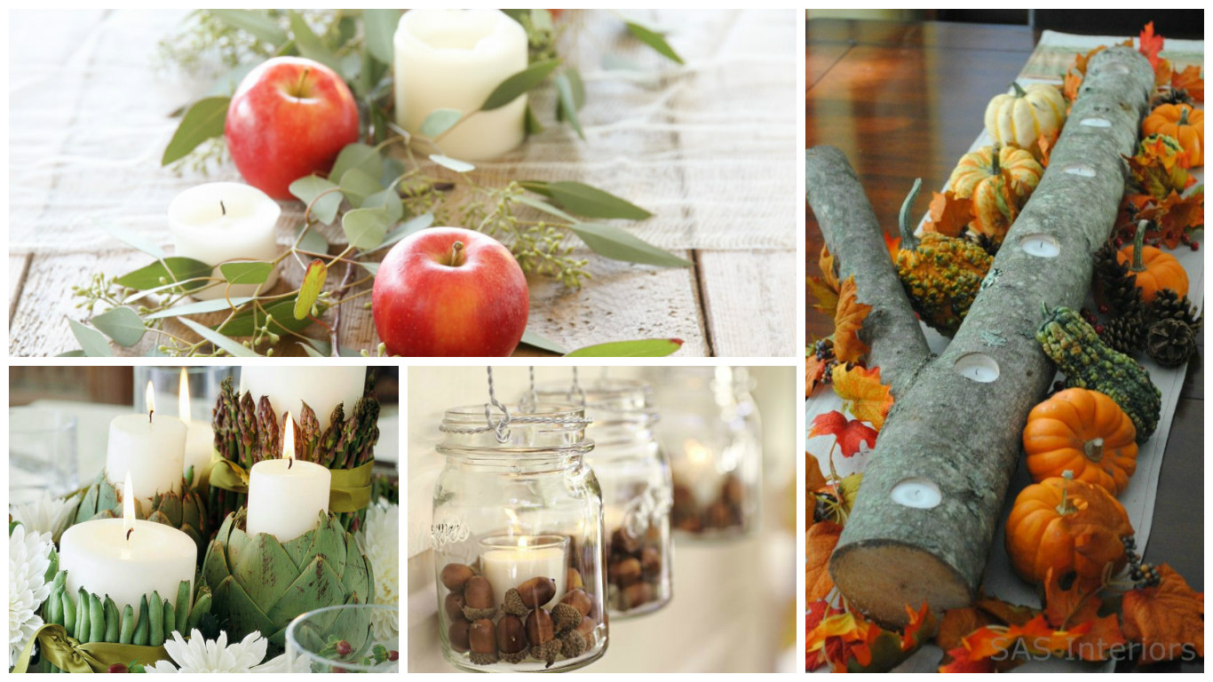 Credit {from top left, clockwise} : 1. Apples, greens & pillar candles from  Julie Blanner ; 2. Votive candles cut into a log with gourds & pumpkins from  Intimate Weddings ; 3.  Better Homes & Gardens  tied vegetables to candles with ribbon; 4. Acorns in hanging ball jars from  The Glamorous Housewife