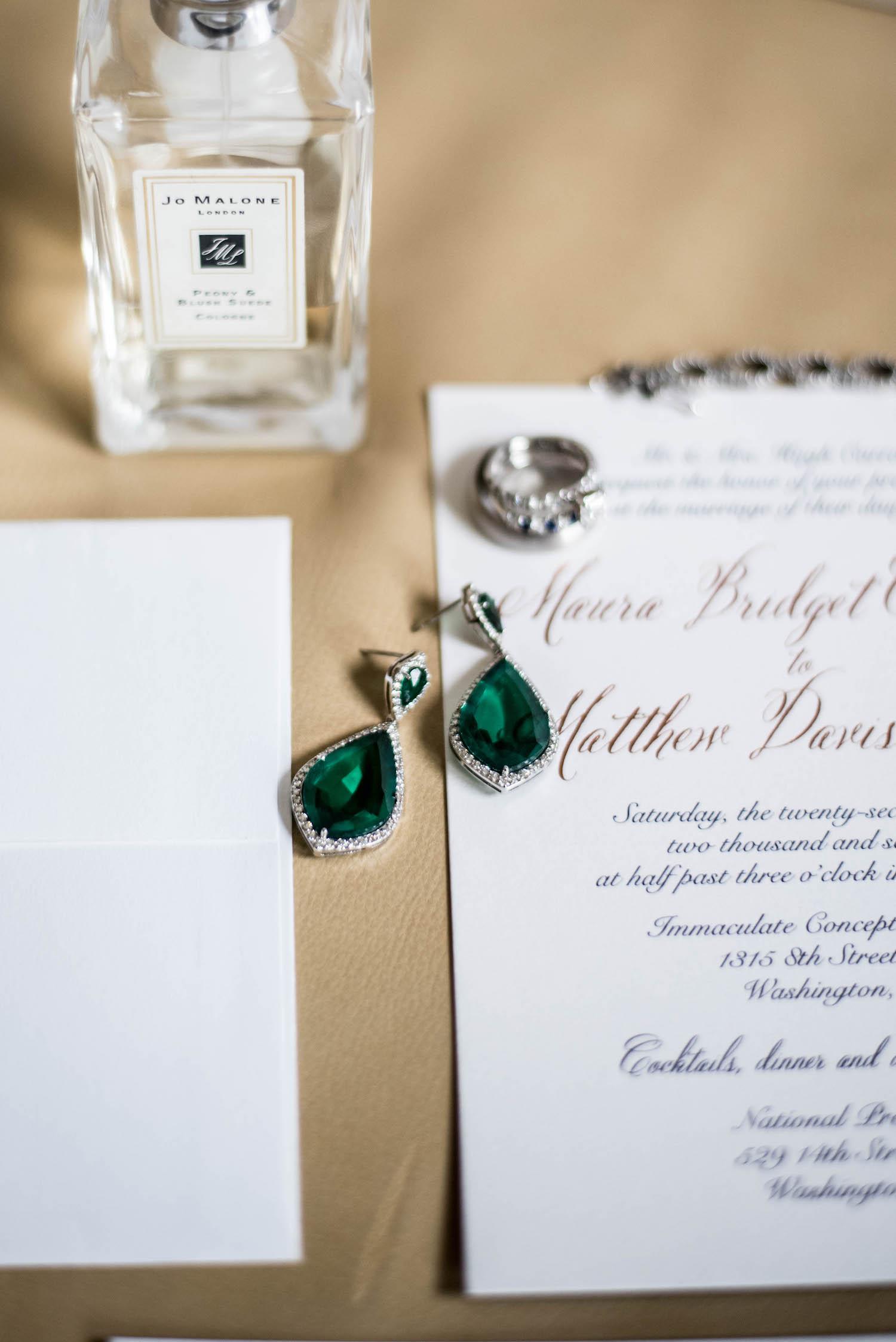 Washington DC Wedding - Sincerely Pete Events - Erin Tetterton Photography - Emerald Earrings