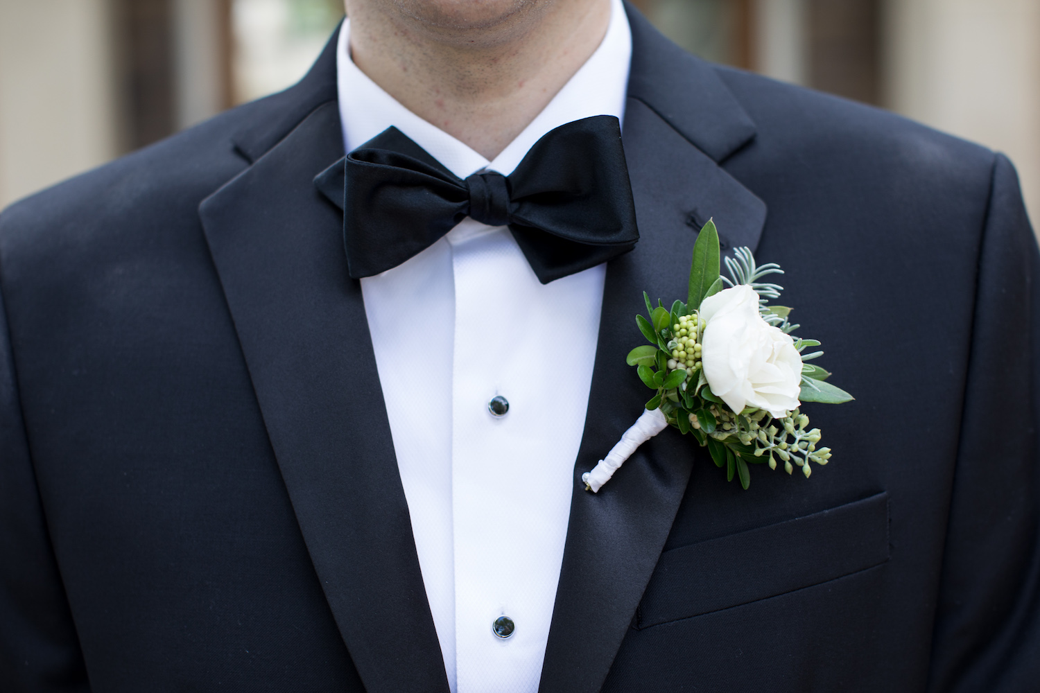 White Boutonniere St Francis Hall Washington DC Wedding Sincerely Pete Events Liz and Ryan Photography