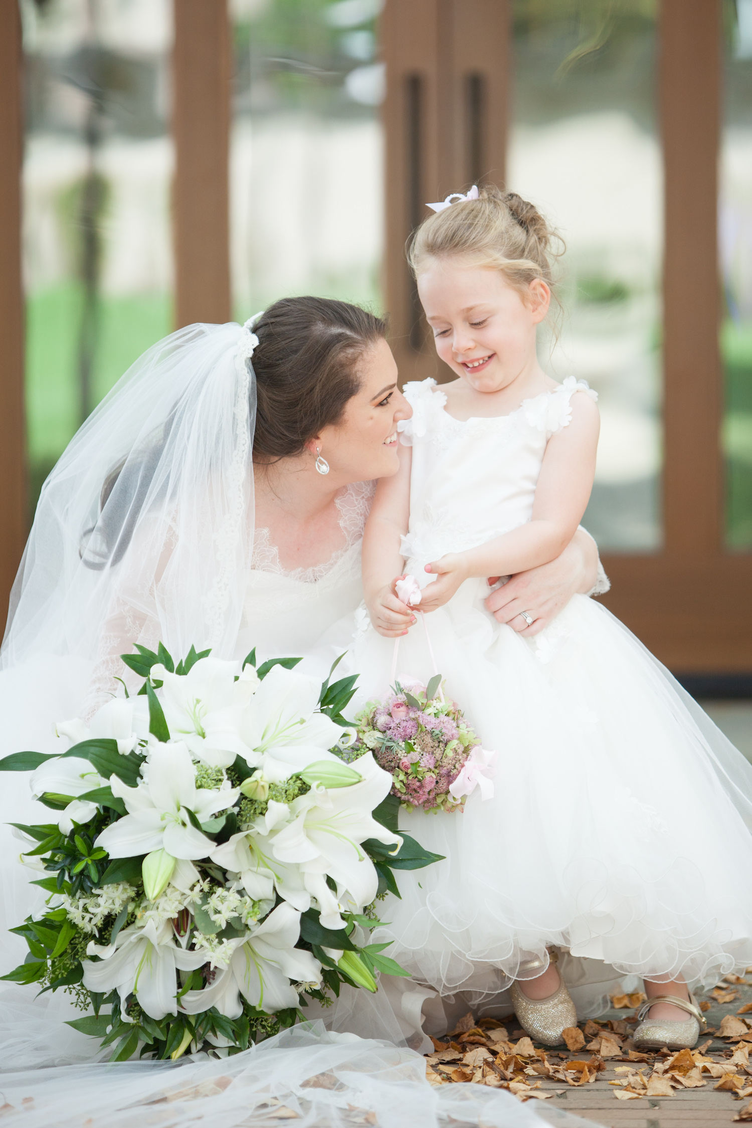 Bride and Flower Girl St Francis Hall Washington DC Wedding Sincerely Pete Events Liz and Ryan Photography