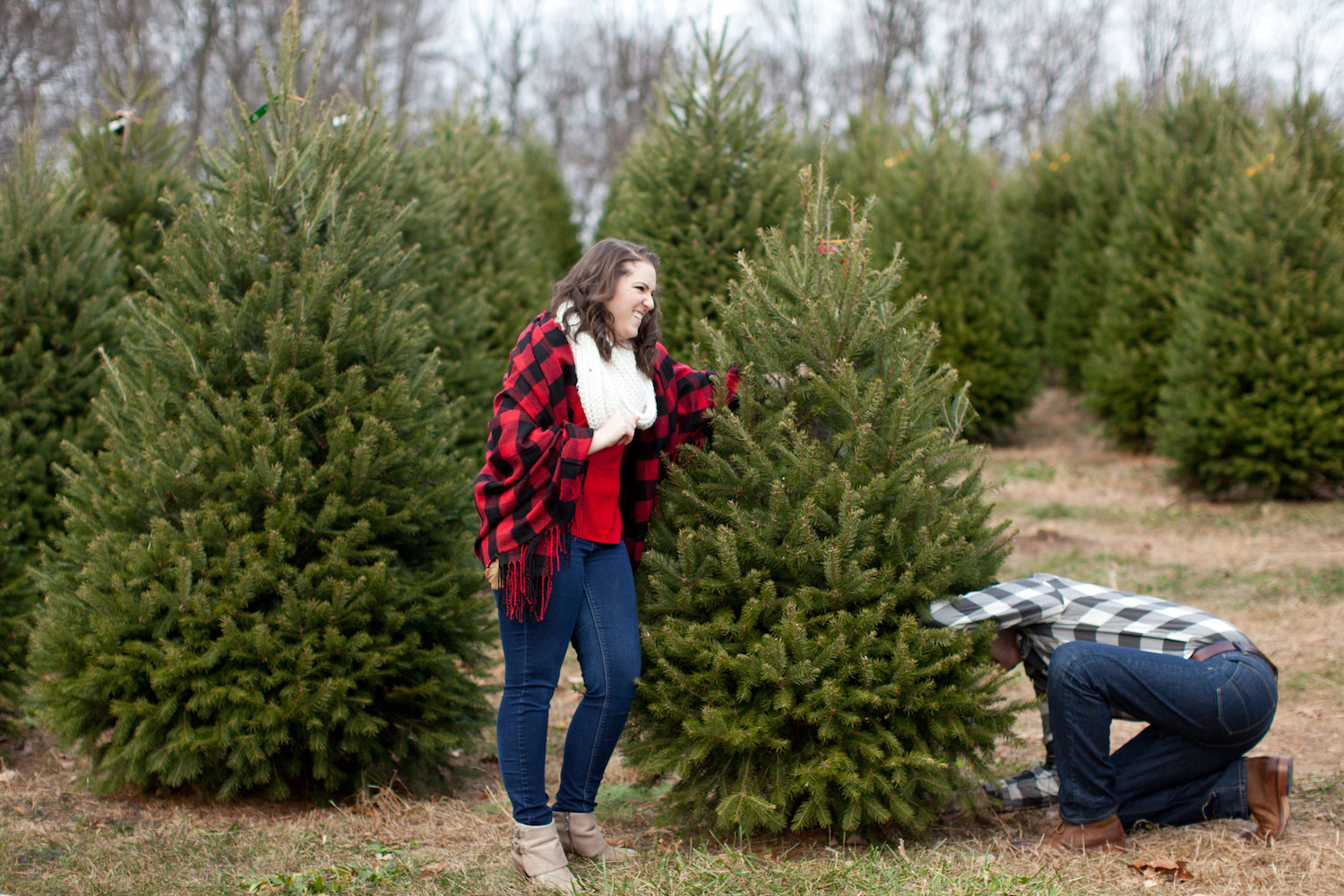 Cutting Down a Christmas Tree Engagement Shoot Sincerely Pete Events Liz and Ryan Photography