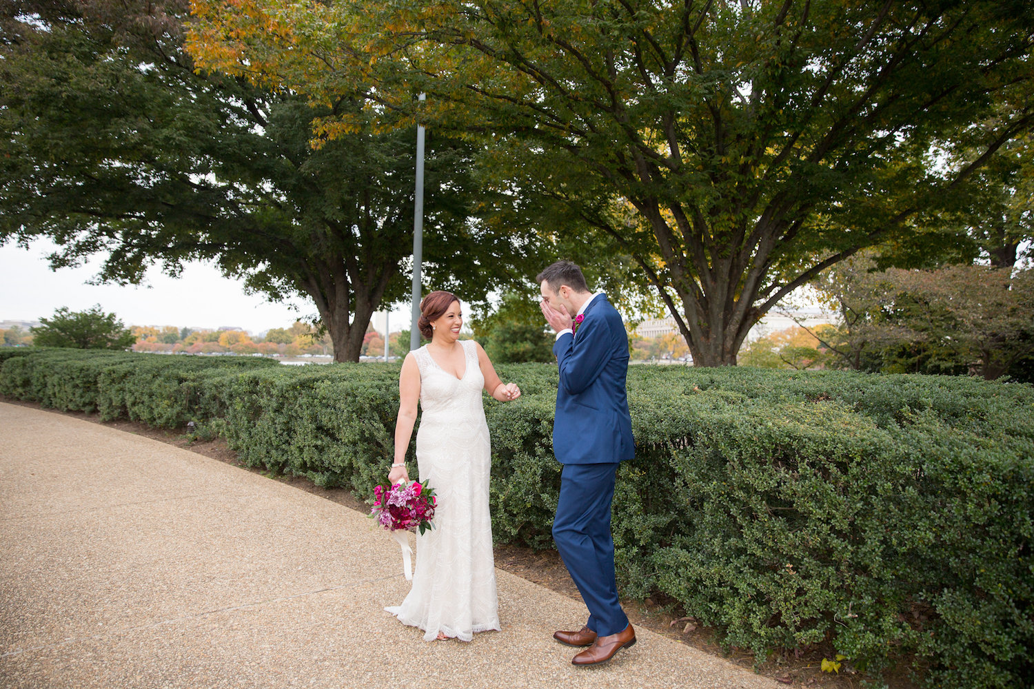First Look Reaction District Winery Wedding Sincerely Pete Events Olivia Jacob Photography