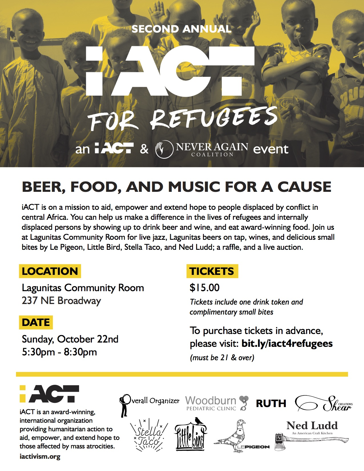 In partnership with the Never Again Coalition, iACT is preparing for the 2nd annual  iACT for Refugees ! The event is taking place at the Lagunitas Community Room where we'll have live music, Lagunitas beers on tap, a raffle, live auction, and a unique refugee preschool exhibit.    Get your tickets and join us for an inspiring evening!    Even if you can't make it, you can purchase raffle tickets. Check out the offerings  HERE !  iACT is on a mission to aid, empower, and extend hope to refugees facing humanitarian crises in central Africa. By connecting our community here in the Portland area with youth, women, teachers, and coaches in refugee camps in central Africa, we are creating a world where humanitarian action can impact the lives of communities living in refugee camps.