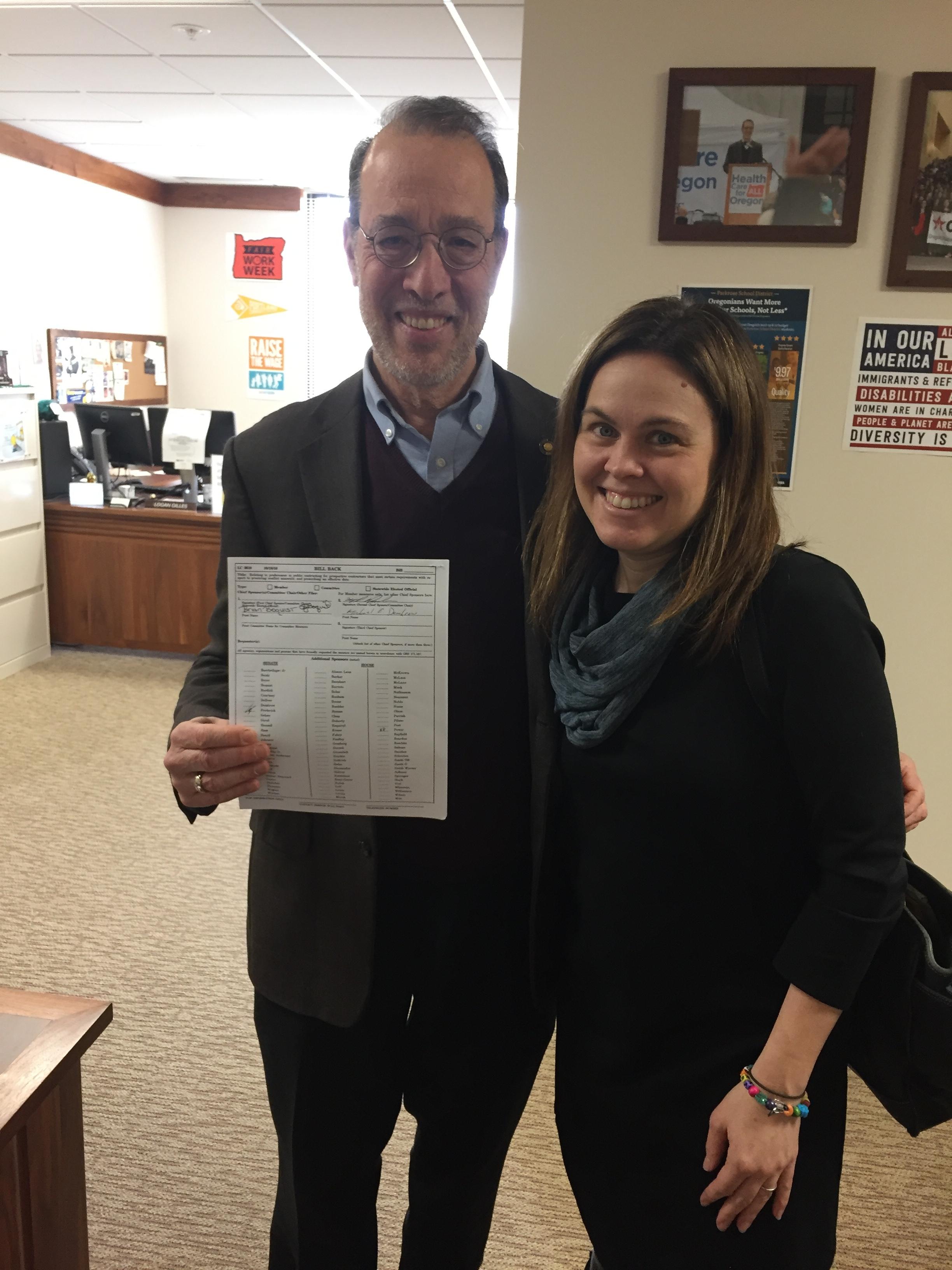 Oregon Senator Michael Dembrow and Never Again Coalition Director Lauren Fortgang
