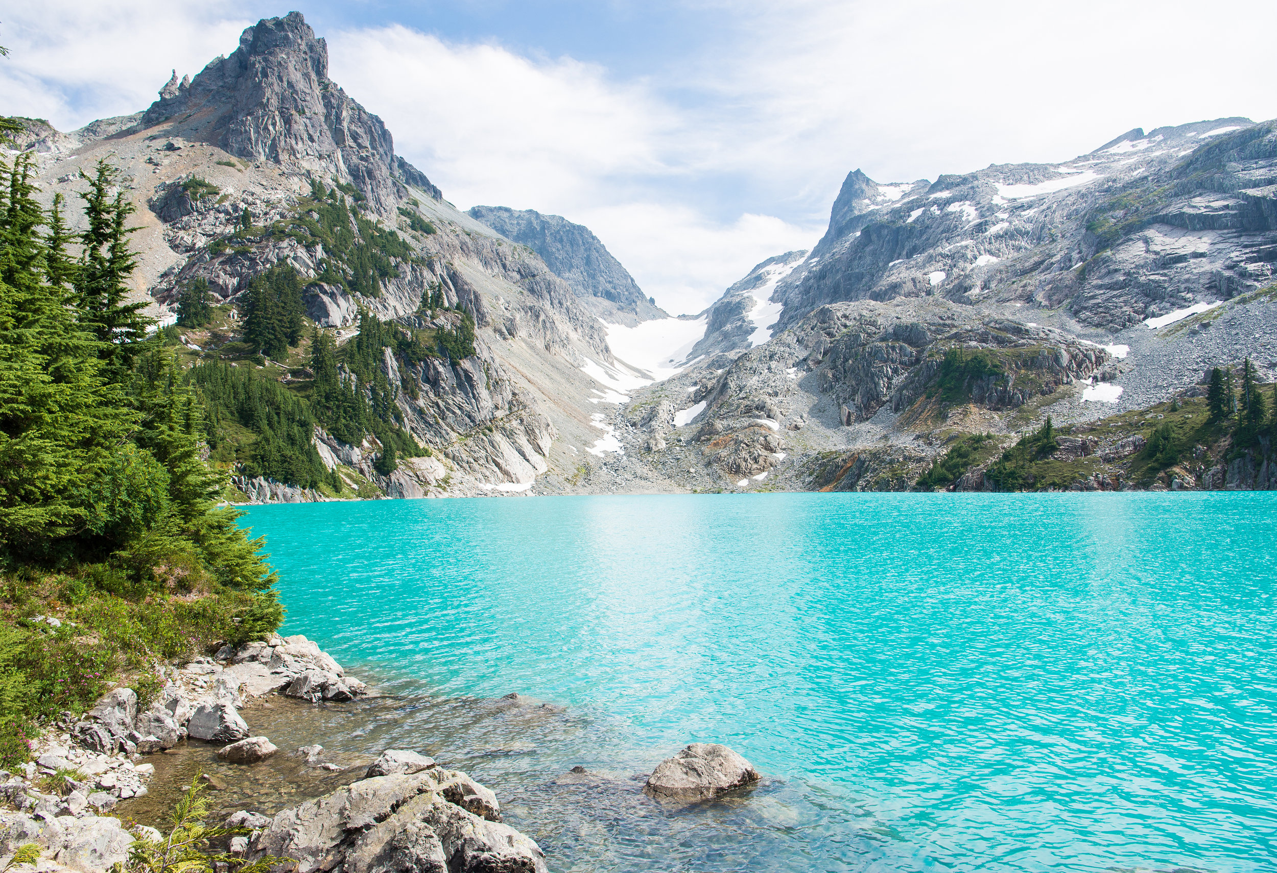 The glacially-fed waters of Jade Lake.