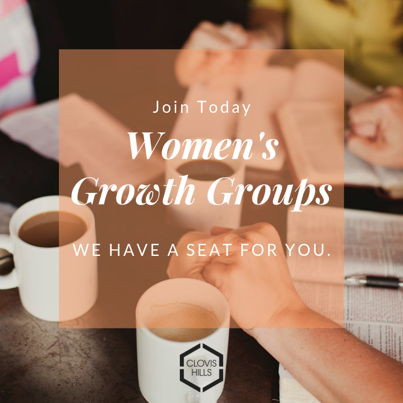 Women's Growth Groups - Did you know there are a lot of options when it comes to Bible Studies at Clovis Hills?These studies often lead to long term relationships and ongoing Growth Groups.For more information on Women's Bible Studies email Liz.Fields@clovishills.com