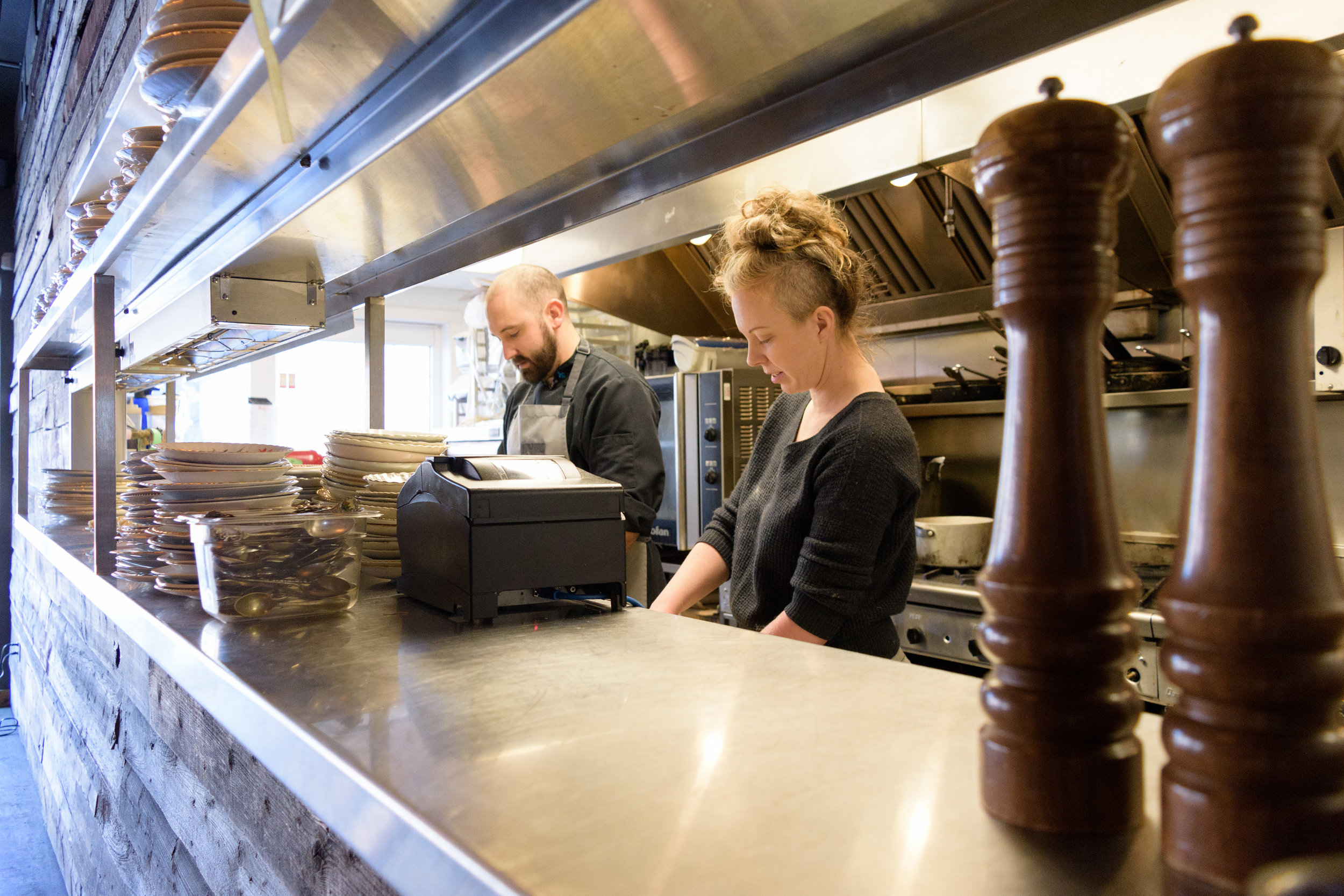 Chef Steve Brochu and Alexis at Chartier. Photo by Ebony Bird Photography.