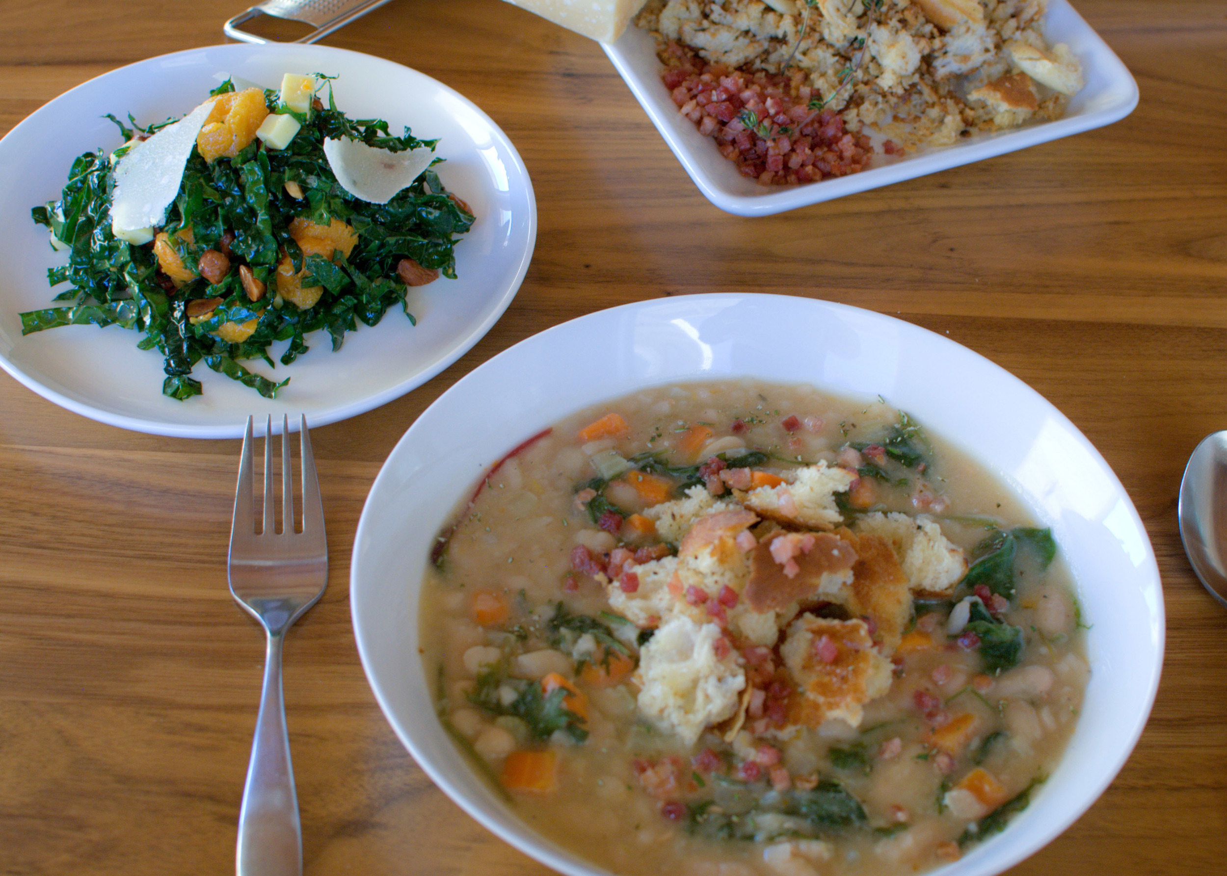 white bean soup and kale salad