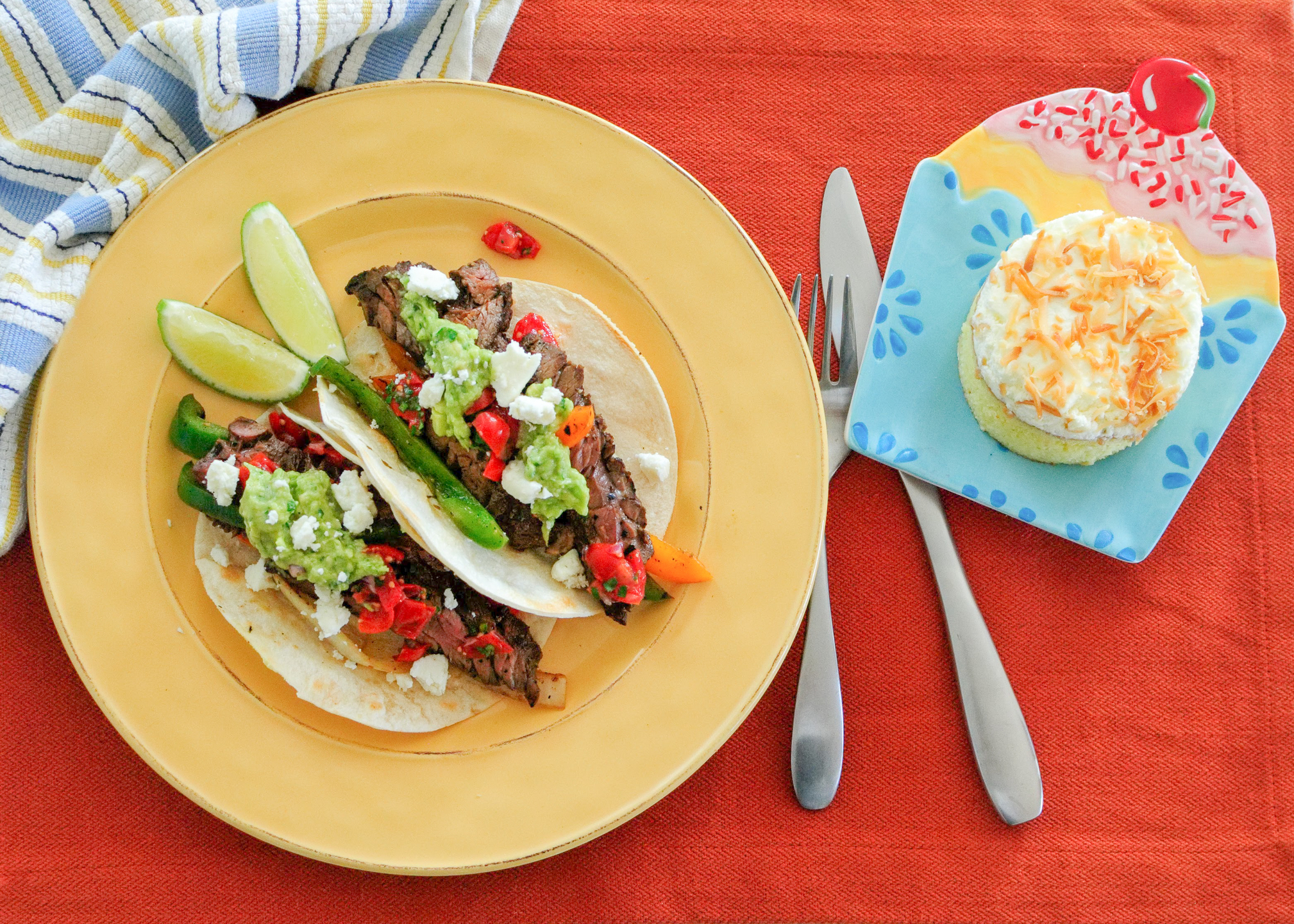 beef fajitas and coconut tres leches cake