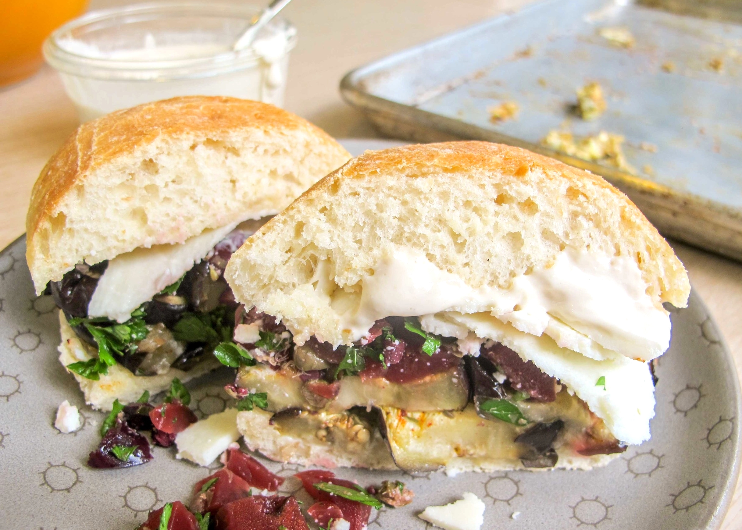 roasted eggplant and pickled beet sandwich
