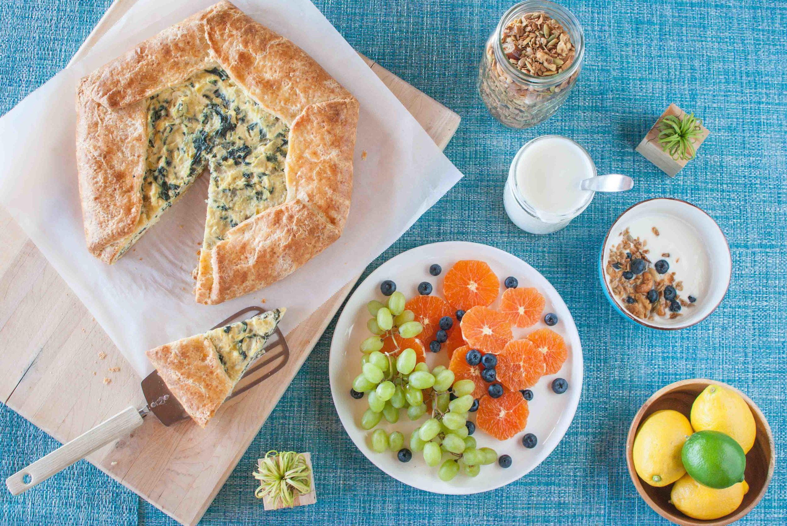 Swiss Chard and Leek Crostata with Homemade Yogurt and Olive Oil Granola