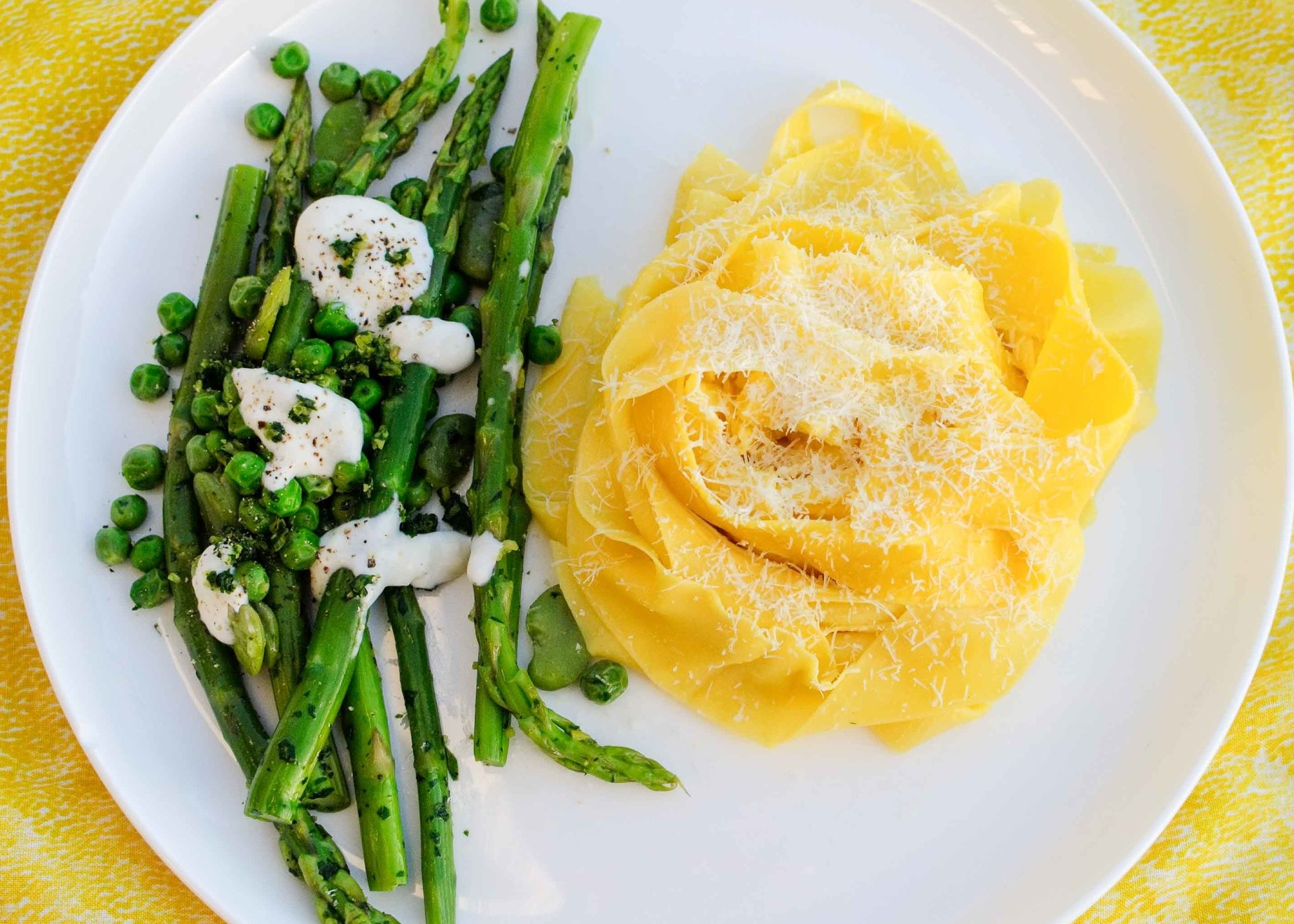 asparagus fava beans and pea salad with gremolata and mozzarella served with fresh pasta