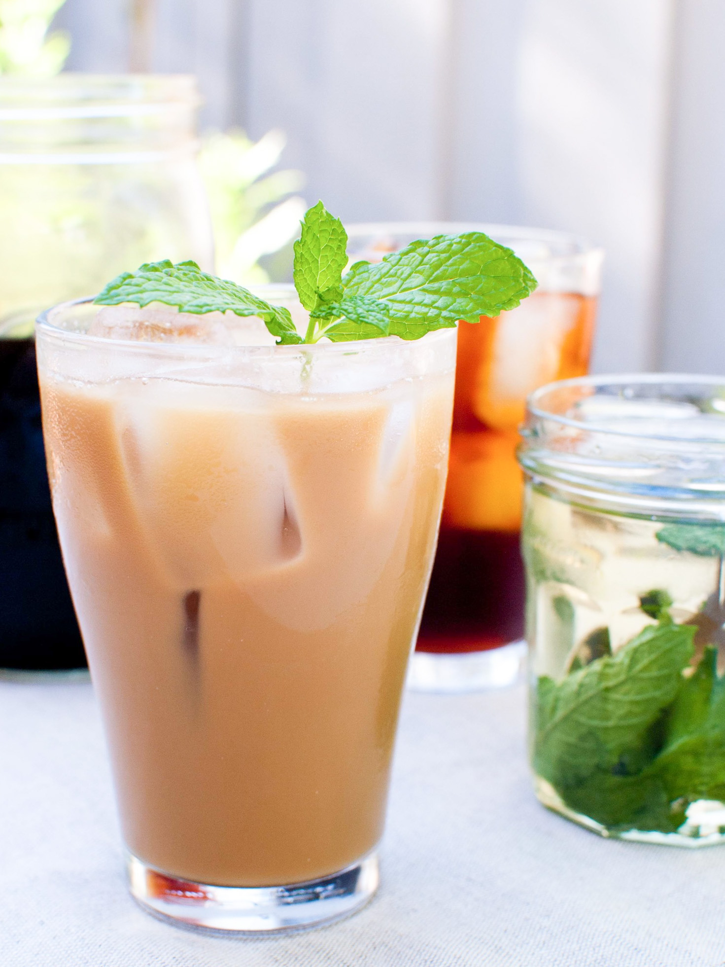 cold brew coffee with mint syrup