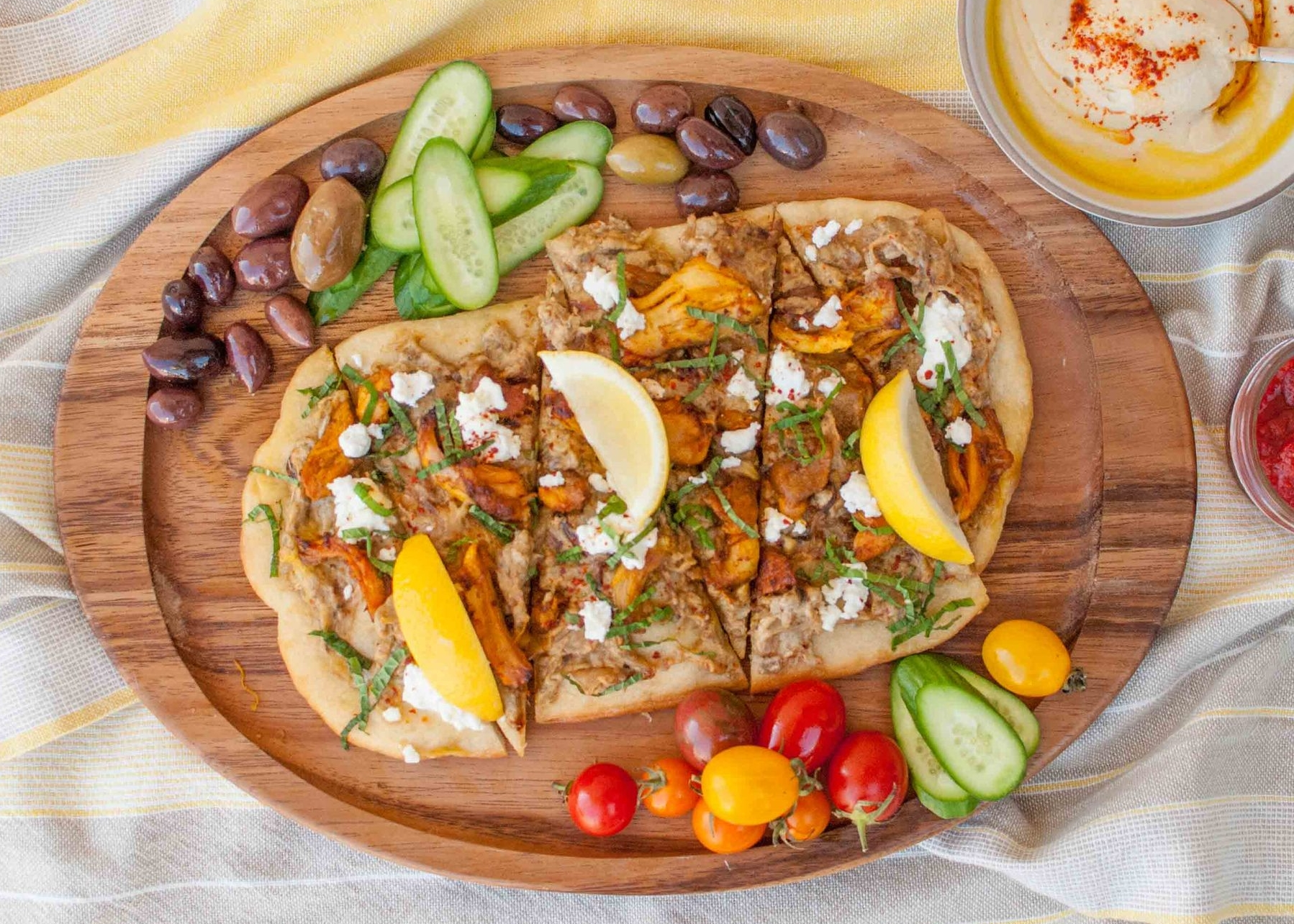chicken shawarma flatbread with eggplant and caramelized onion dip