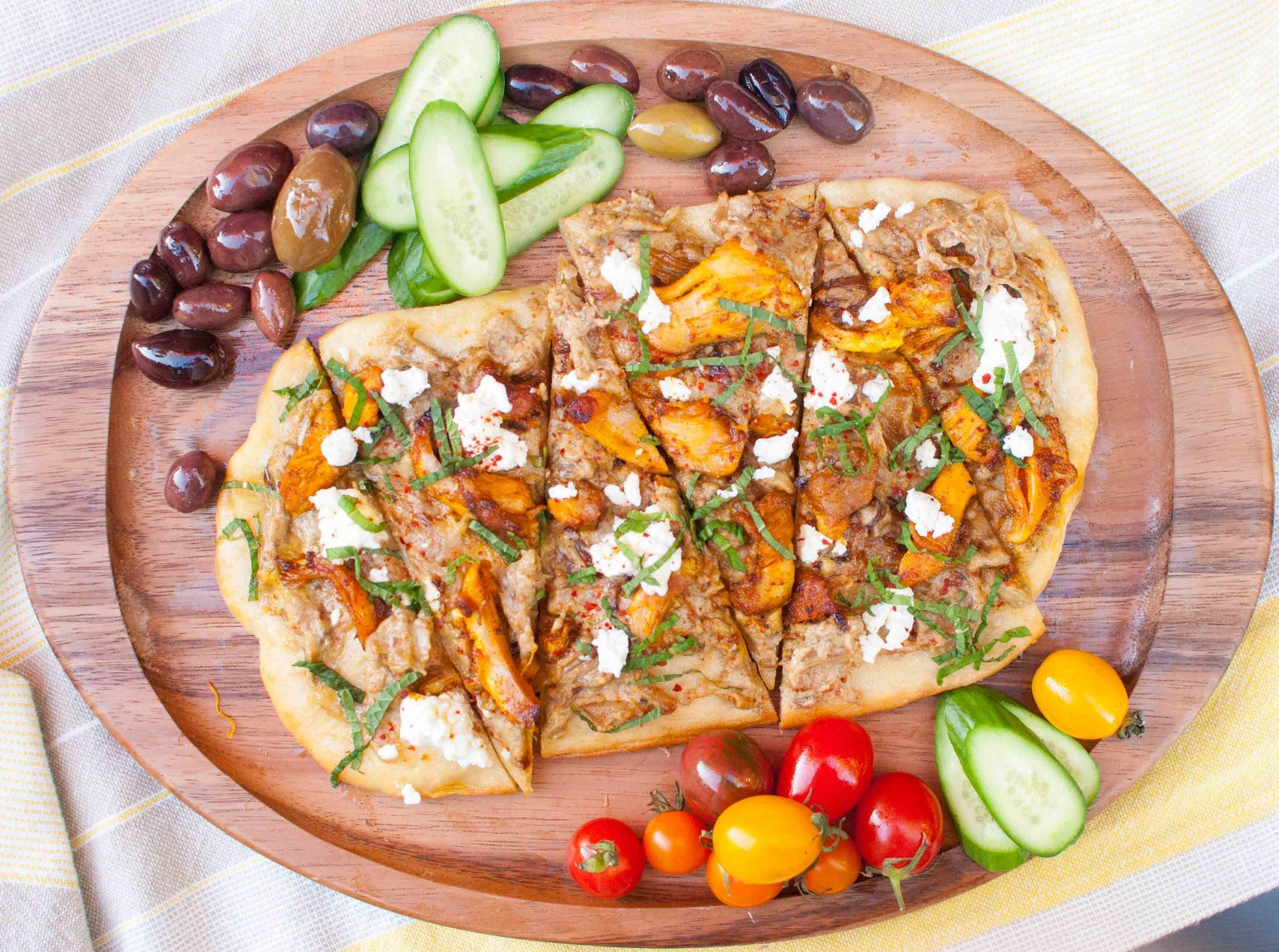 Flatbread with Chicken Shawarma and Eggplant Dip with Caramelized Onions