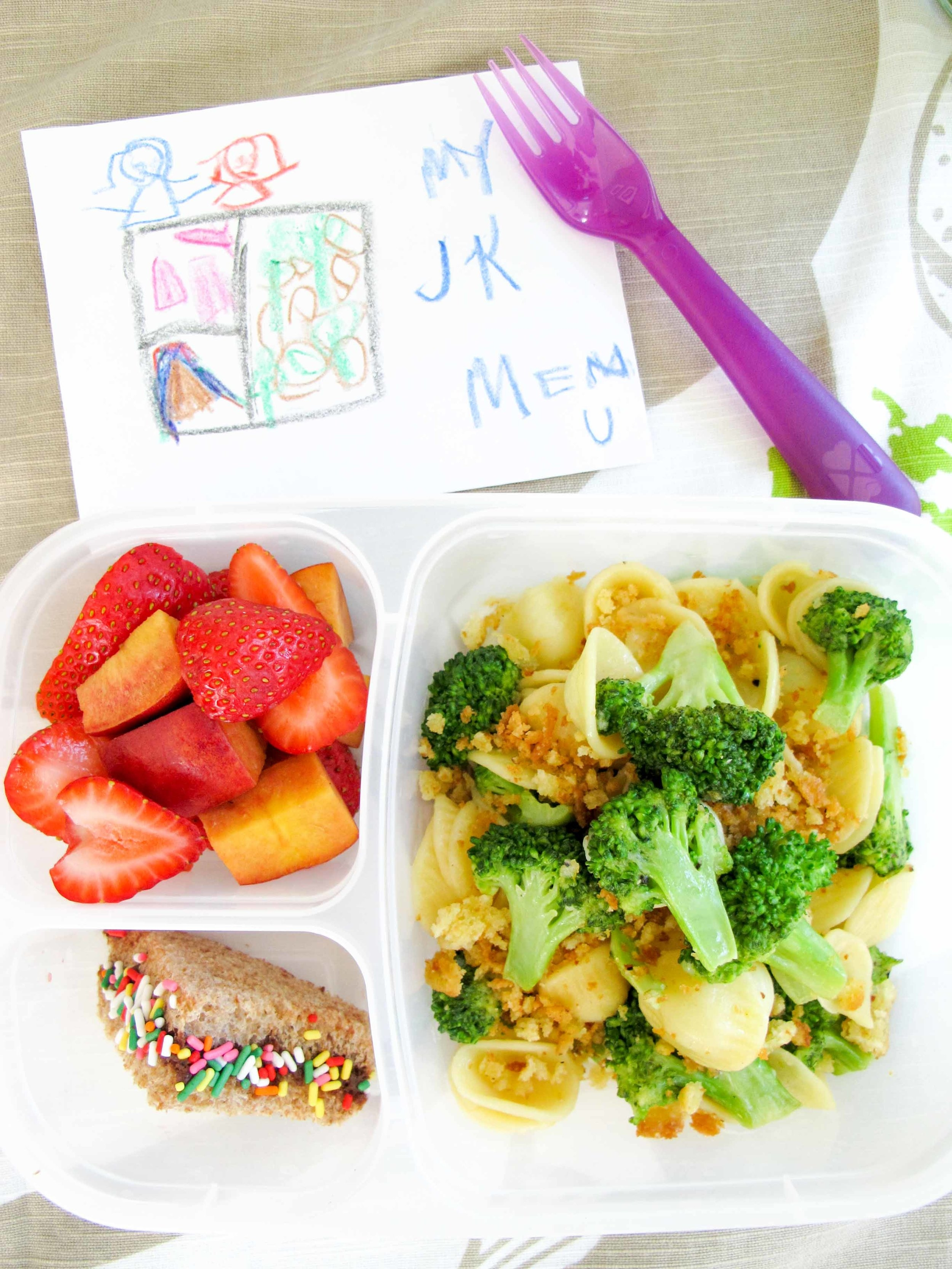 orecchiette with roasted broccoli healthy kids lunchbox
