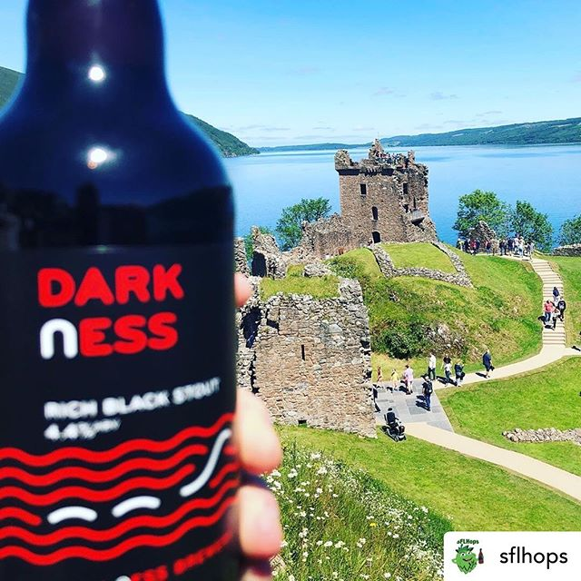 Dark ness - a full, flavoursome stout, with chocolate malt & roast barley combining beautifully with clear Highland Water.  A creamy head with aromas of coffee & sweet chocolate, leading to hints of espresso & luxurious black cherry.  #lochnessbeer #lochnessbrewery #darkness  #cheers