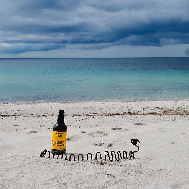 """We were drinking a nice beer on the beach in Benbecula and Nessie just appeared!"" Thanks Veronique & Reynald for sharing.  #beeronthebeach  #whitesand  #lochnessbrewery  #wishyouwerehere"