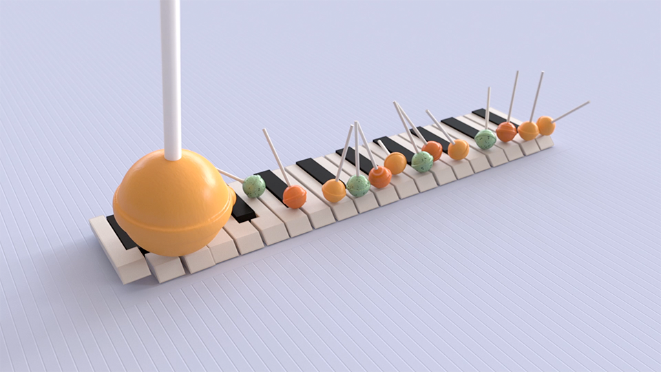9. Bad Piano - By Matt OxleyMASH_Lollies have are placed using a simple Linear Distribution in Y and Z. Under Ramps on the Distribute node the Bias Ramp has been adjusted slightly to give more room for the bigger lolly. This has been scaled up using an Offset node with a Ramp. The same Offset node has then also been used to position it higher in Y. This network then has a Dynamics node added and Use Mass as Density is checked to give the bigger lolly more mass. Note - the lolly has been grouped as a two part model (stick and head) with that group added to the Repro/Instancer and then Collision Shape set to Convex Hull. MASH will add a collision shape for each object within the group. This can help get more accurate/stable results.MASH_Keys have been created using a Linear Distribution. The pivot points for each key have been carefully placed (and baked) to ensure the even distribution. An Offset node has then been used to move the black keys up in Y. Have a look at the Filter On attribute under the Strength rolldown. The Position and Rotation Strength under MASH Bias on the Dynamics node have then been given fairly high values to keep them in place when the lollies hit. The keys also have a fairly high mass to make them harder to move.