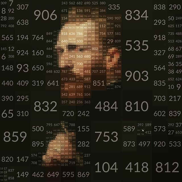 Vince - - - Test. Segmenting an image of Vincent with an 'Image to Shapes' which is creating the boxes used to place the numbers. Each value represents the number of that box. - #cavalryapp #imageprocessing #motiondesign #motiongraphics #animation