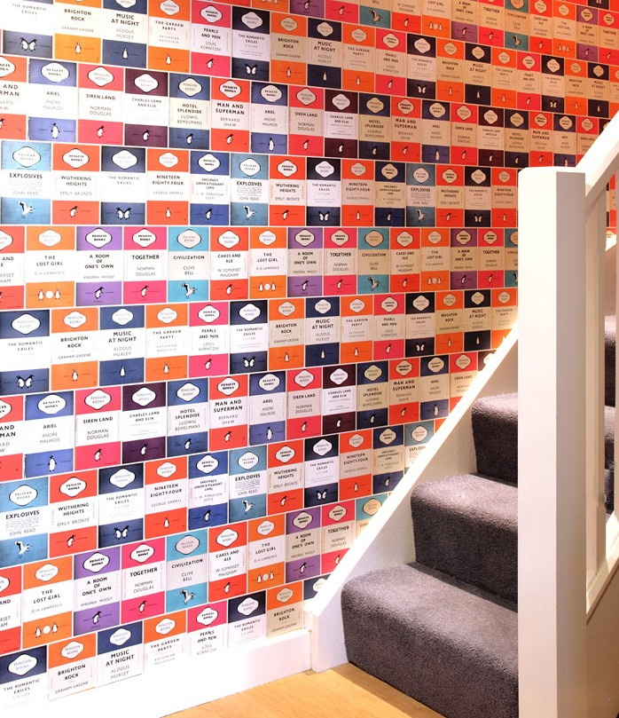 Quirky feature wallpaper; Funky wallpaper; Penguin books wallpaper; Fun feature wall; Osborne&Little Penguin Library wallpaper