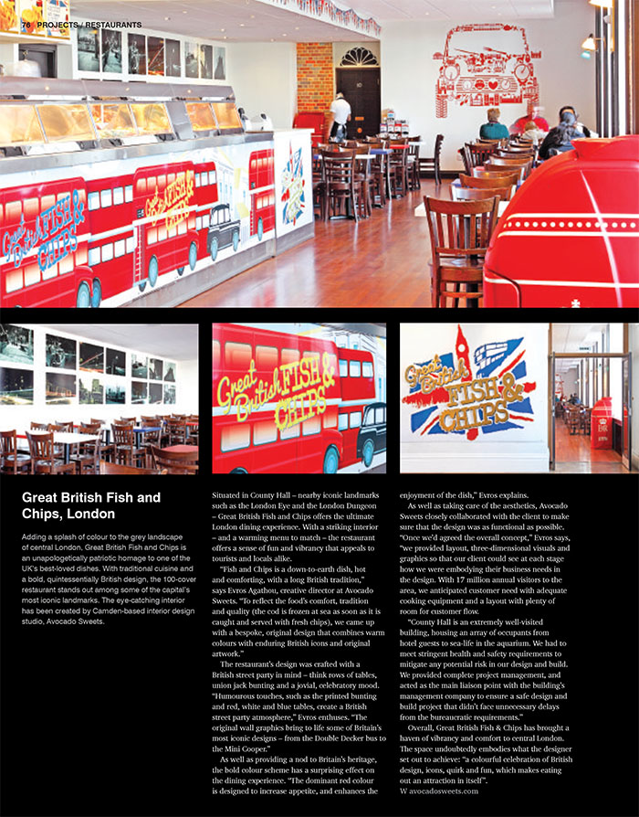 central London restaurant design; media coverage; avocado sweets