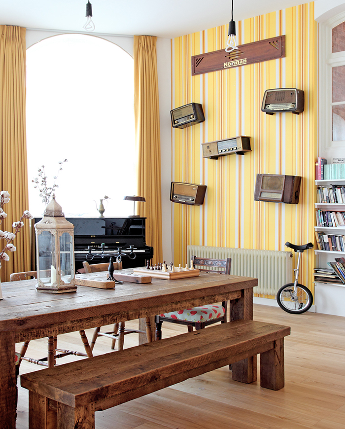 Vintage radio feature wall, Stoke Newington apartment by Avocado Sweets