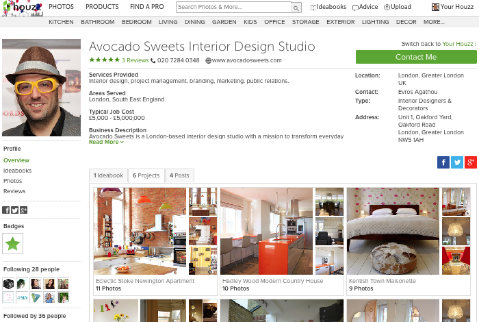 screen shot of Avocado Sweets Interior Design Studio's profile on Houzz UK