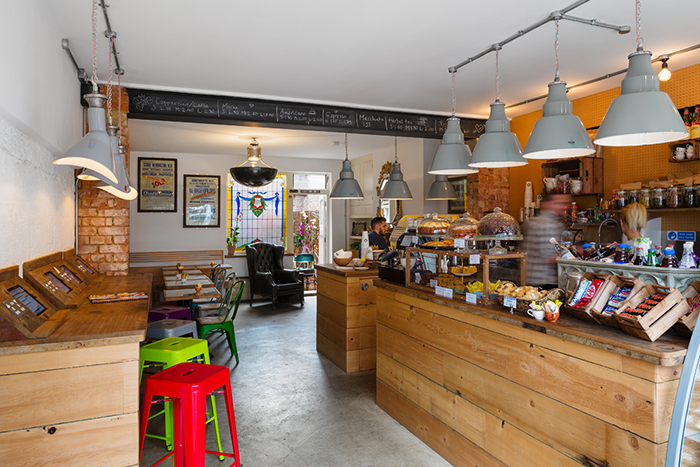 The front room at Claud W. Dennis coffee shop; Restaurant and Bar Design Awards 2015;